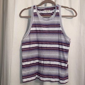 Madewell red white and blue striped tank top